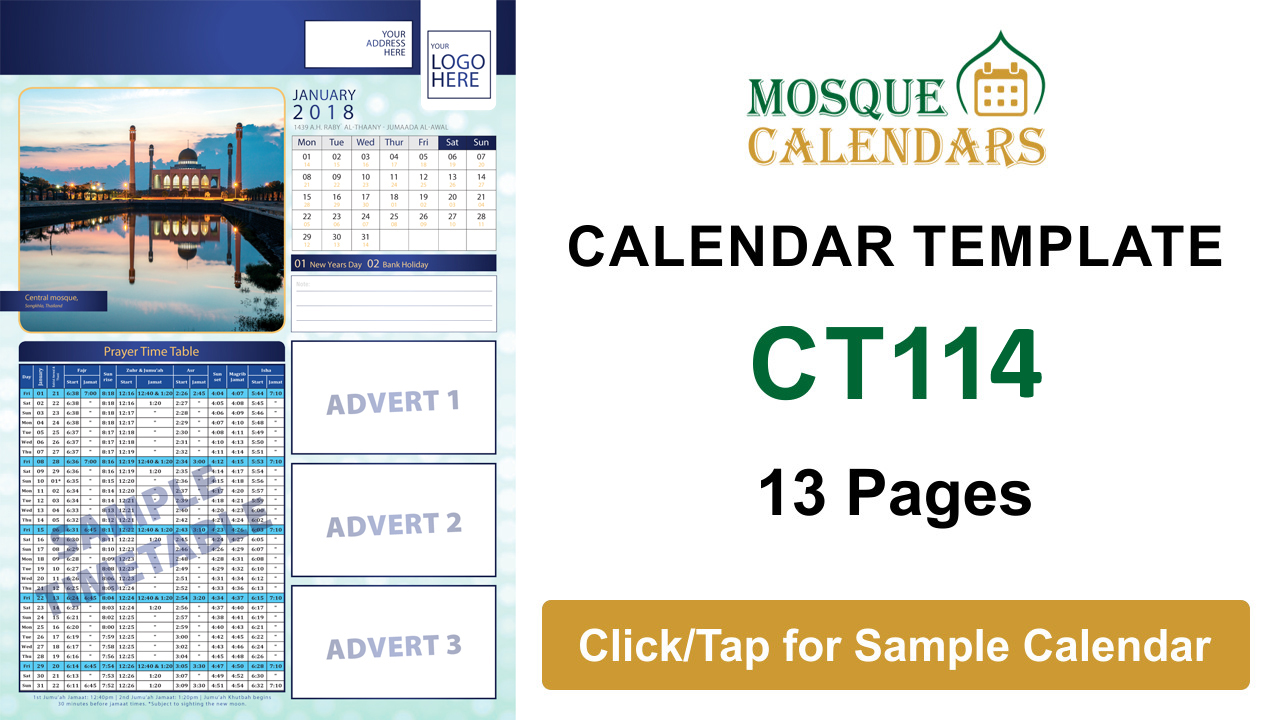 Mosque Calendars Printing Prayer Time Table Mosque Timetable